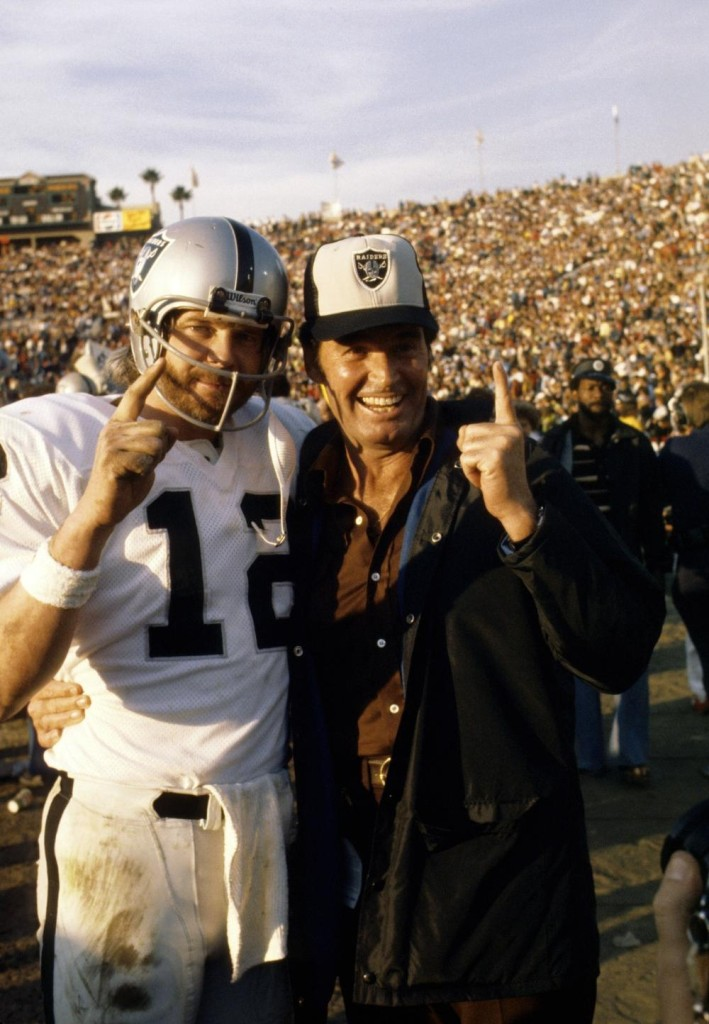 "Ken Stabler with another boyhood hero, James ""Rockford"" Garner after the Raiders won Super Bowl XI"
