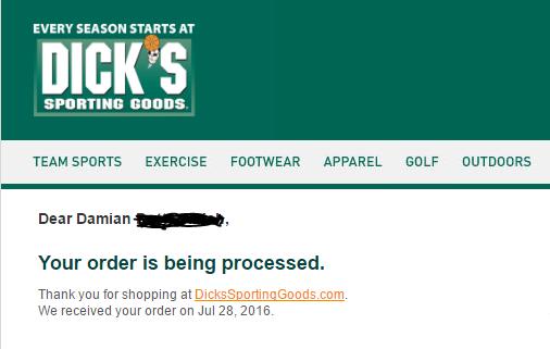 dicks order processed
